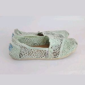 Toms Moroccan Crochet Lace Mint Green Classic